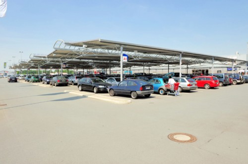 Parkplatzüberdachung REAL SB-Warenhaus